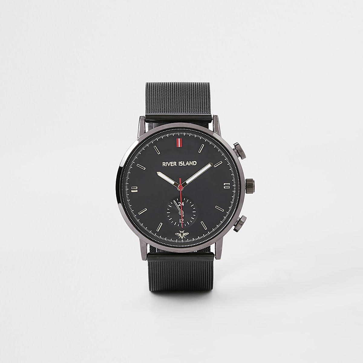 Grey gunmetal mesh strap round watch