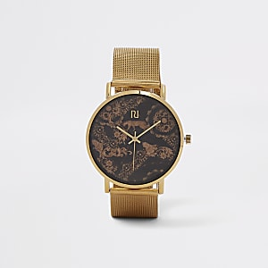 Gold tone cheetah mesh strap watch