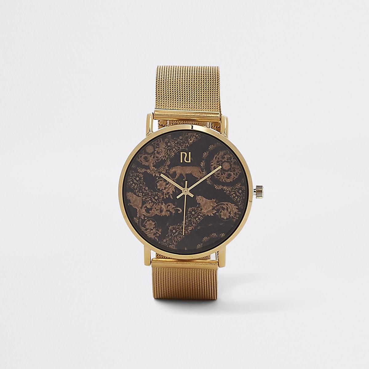 Gold tone cheetah mesh strap watch