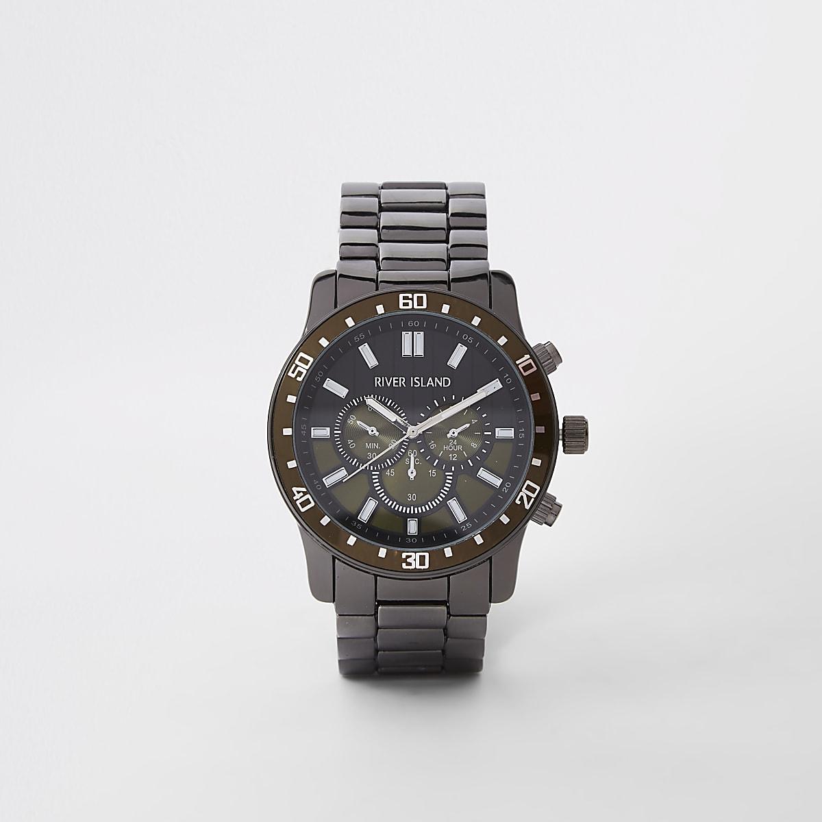 Montre gris bronze à bracelet à maillons