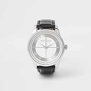 Zwart horloge met zilverkleurige wijzerplaat