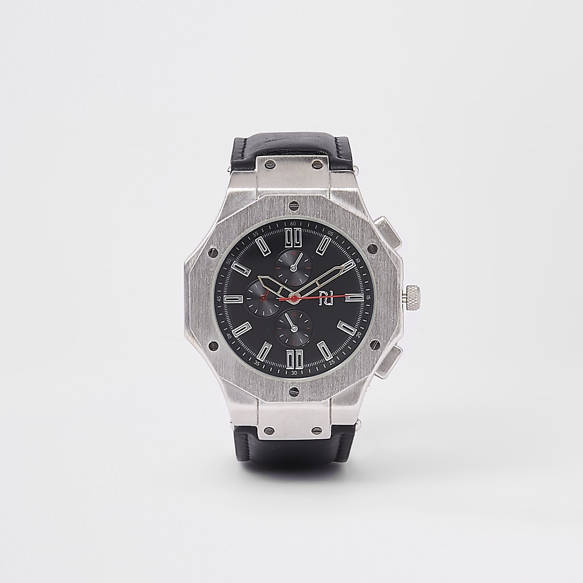 Silver tone black face watch