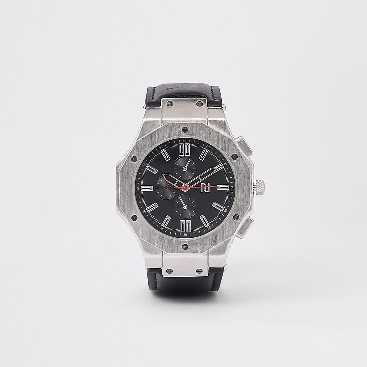 Silver tone black face watch
