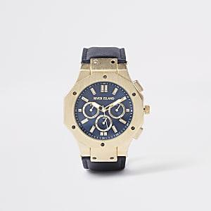 Goudkleurig horloge met marineblauwe wijzerplaat