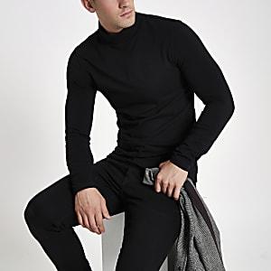 T-shirt noir ajusté à col montant