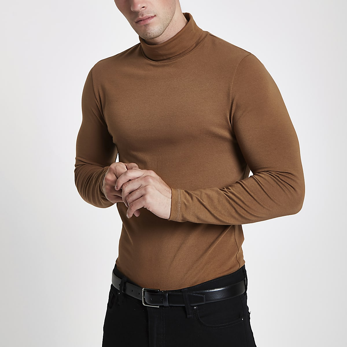 Brown muscle fit roll neck T-shirt
