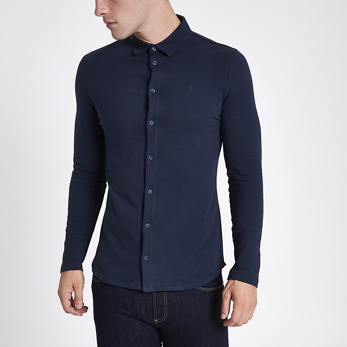 Navy textured button-up long sleeve shirt