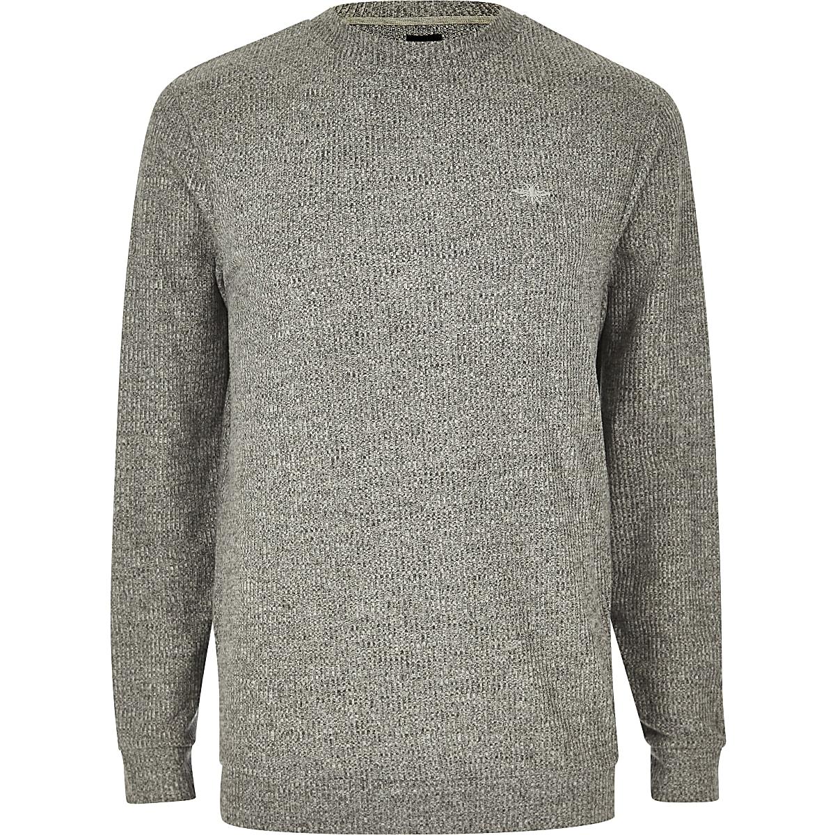 T-shirt slim gris chiné à manches longues