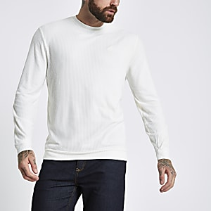 Ecru slim fit wasp embroidered T-shirt