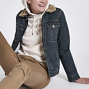 Dark blue fleece collar denim jacket