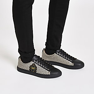 Black RI monogram low top cupsole sneakers