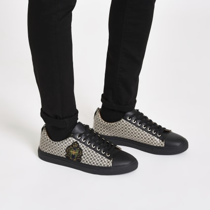 Black RI monogram low top cupsole trainers