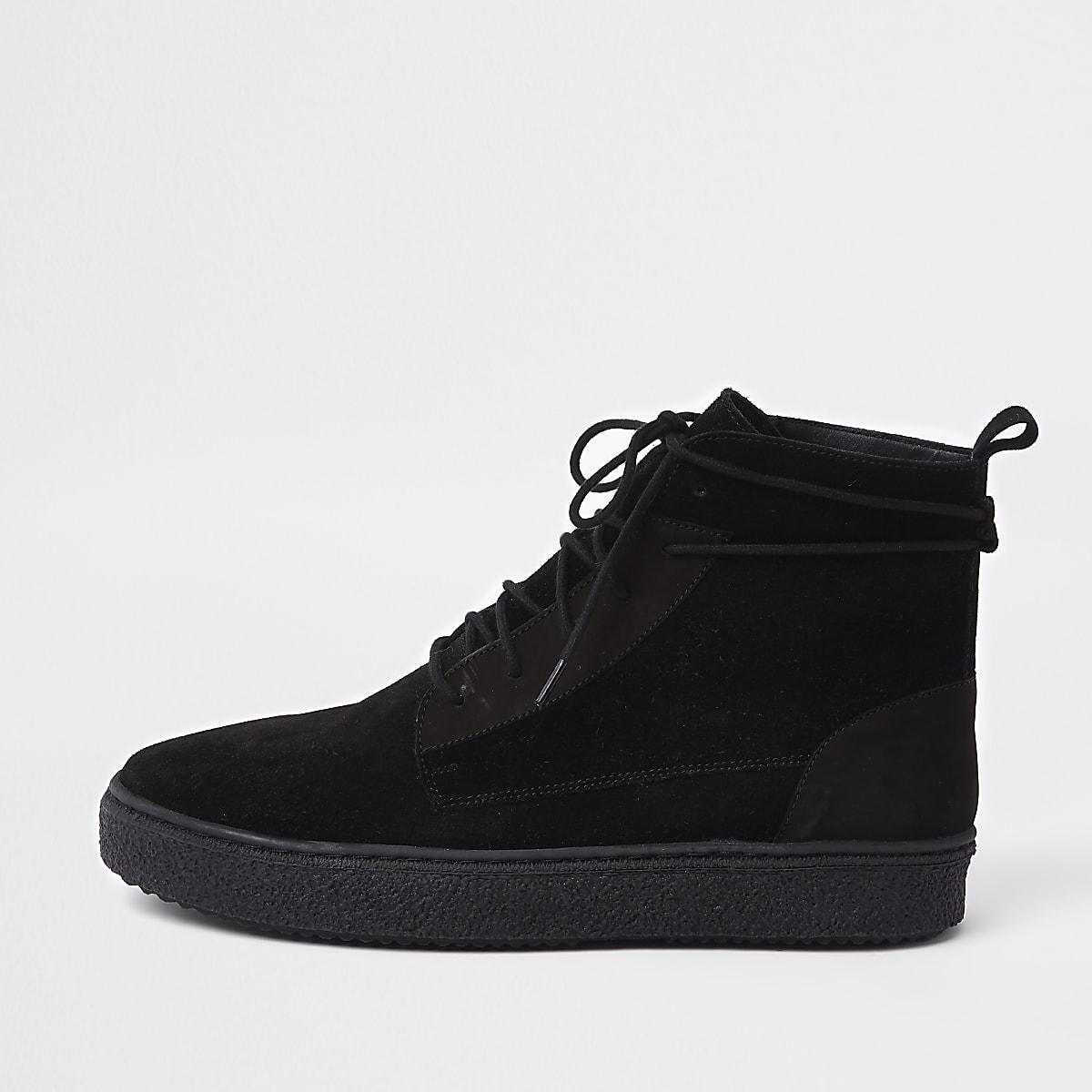 Black suede wrap around desert boots