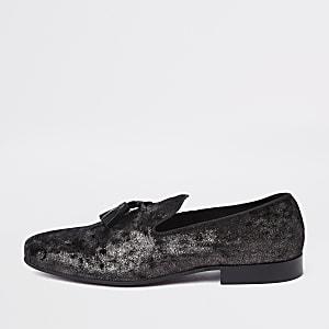 Black velvet woven tassel loafers