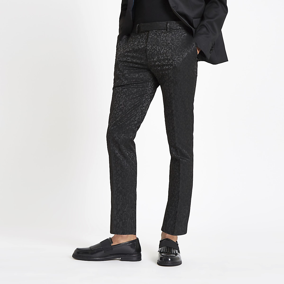 Black jacquard stretch skinny smart trousers