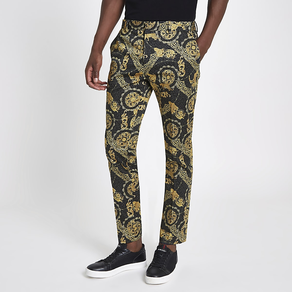 Black leopard printed skinny smart trousers