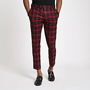Red plaid check smart skinny crop pants