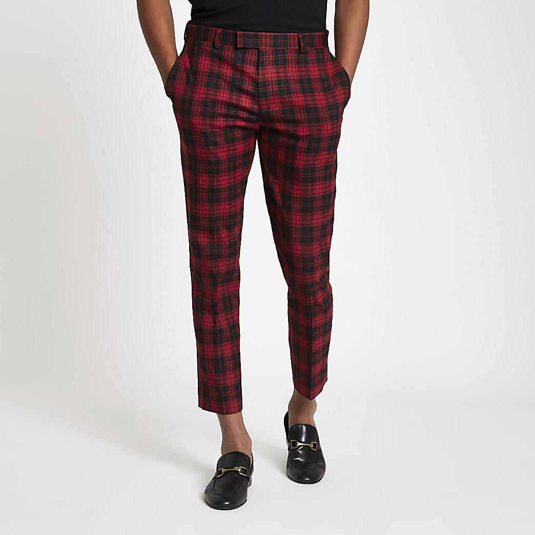 Red tartan check smart skinny crop trousers