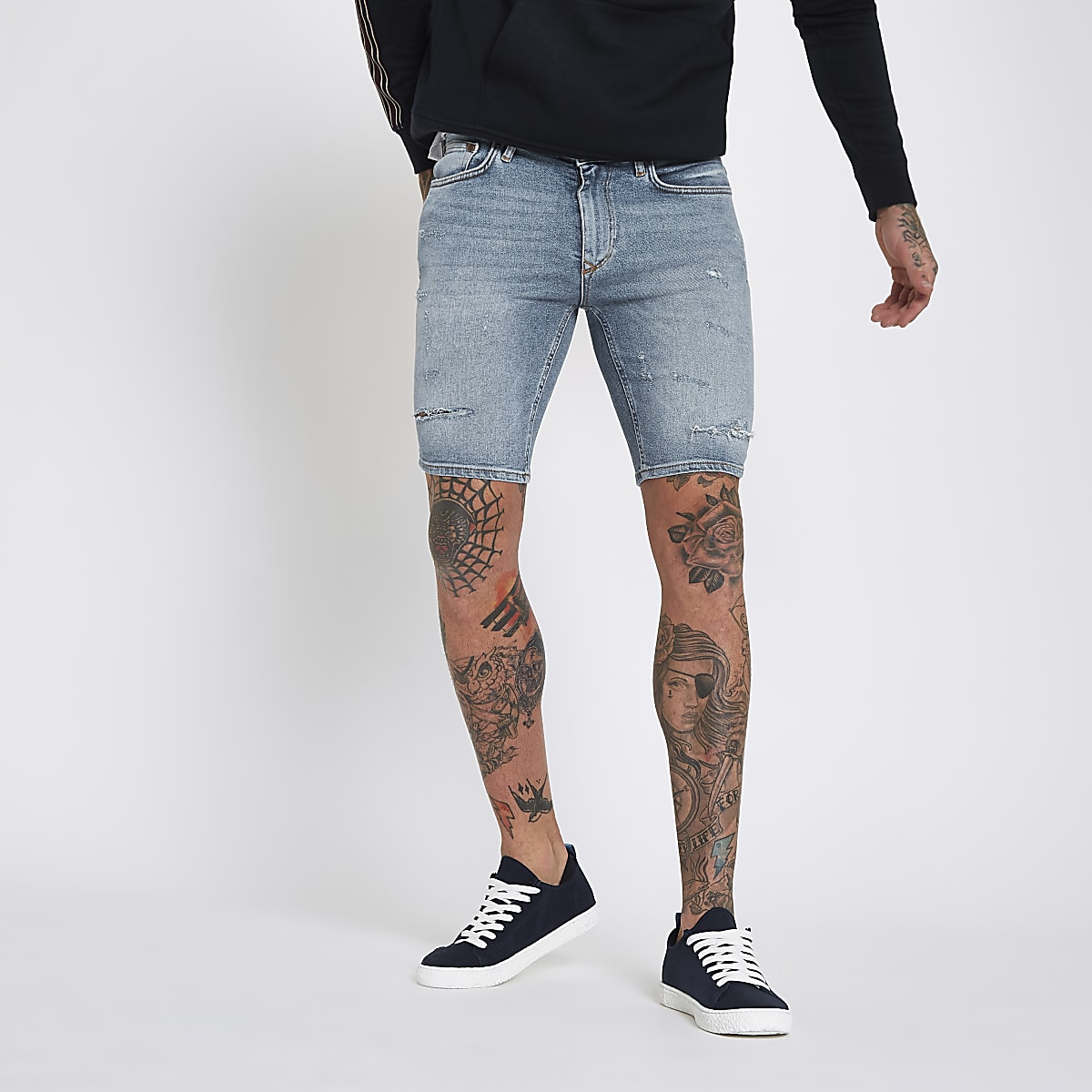 Mid blue skinny denim ripped shorts