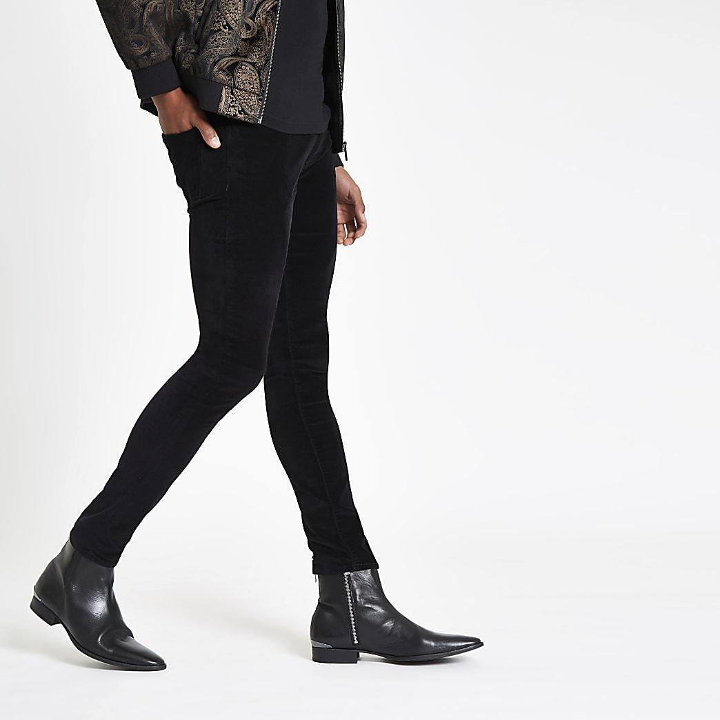 Danny - Zwarte superskinny fluwelen broek