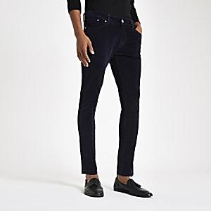 Danny – Pantalon superskinny en velours bleu marine