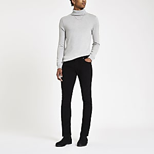 Black Sid cord skinny stretch pants