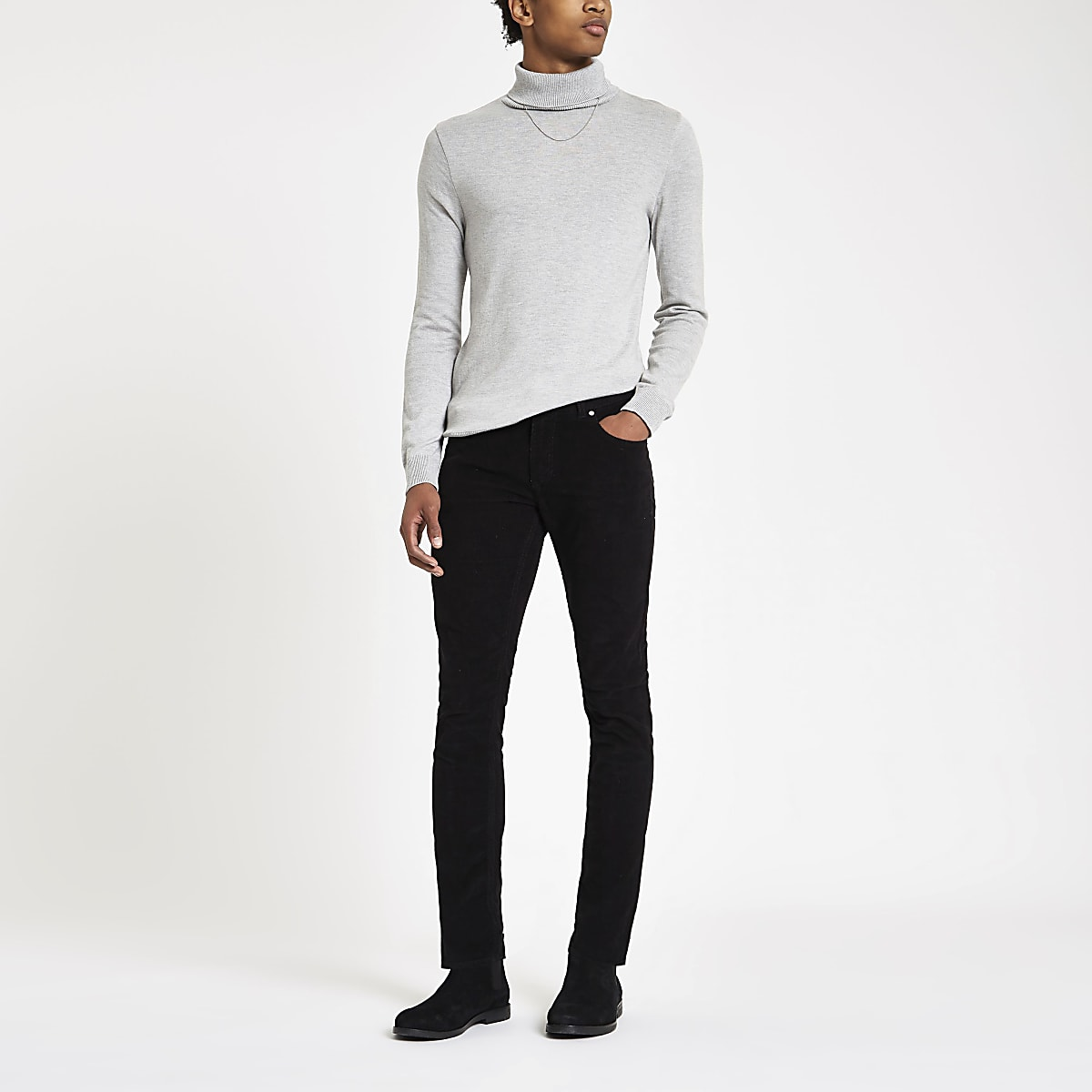 Black Sid cord skinny stretch trousers