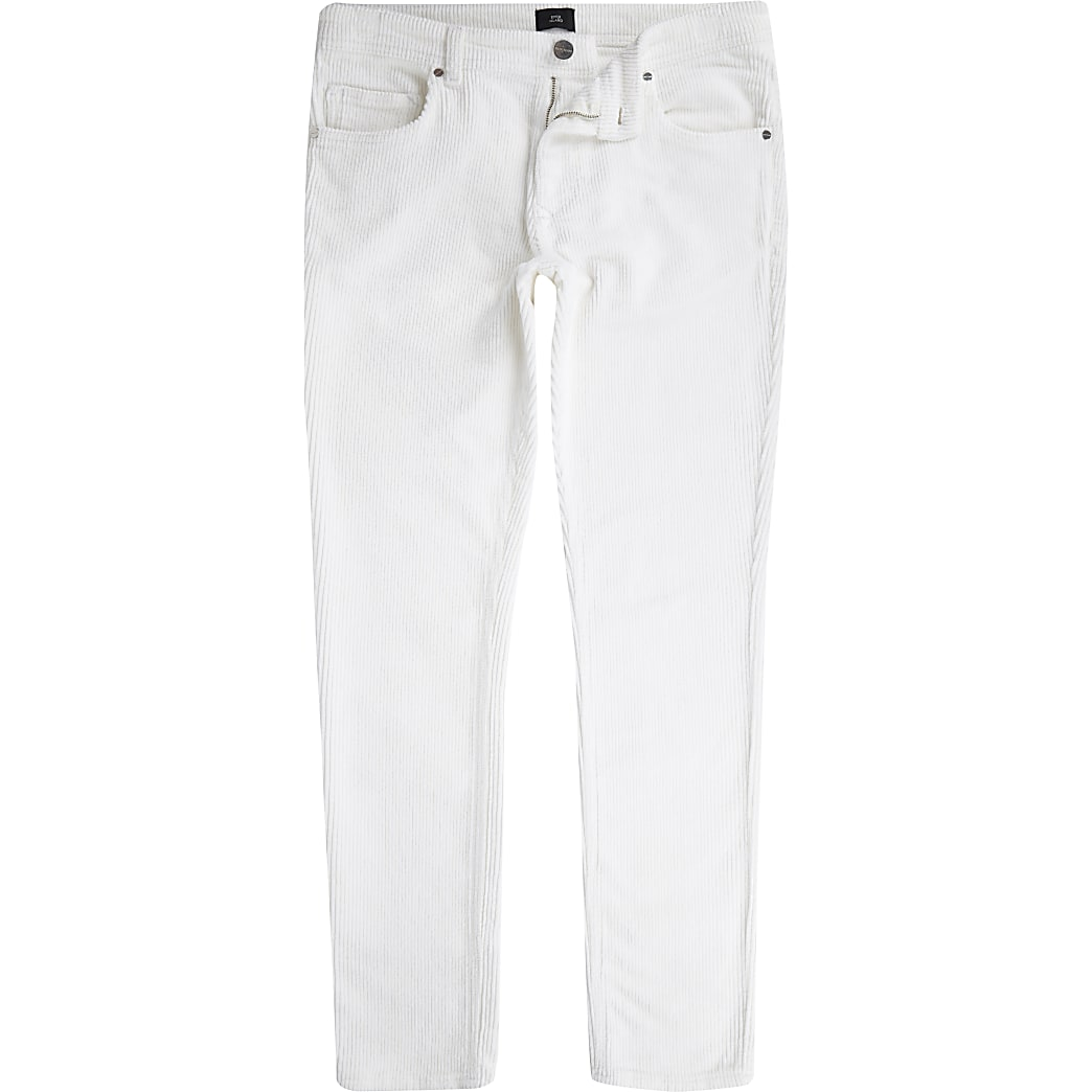 White cord skinny stretch trousers