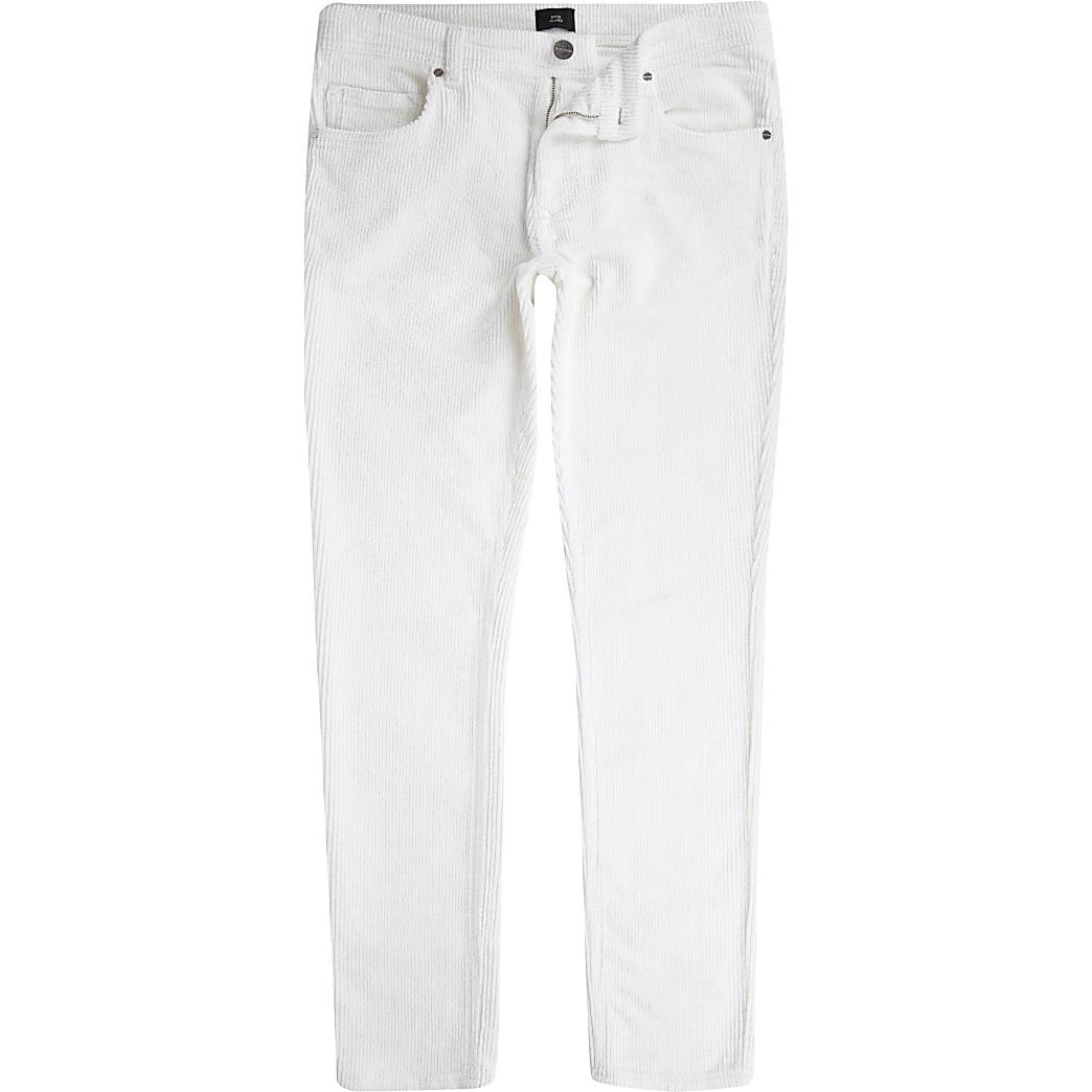 Witte corduroy skinny stretchbroek