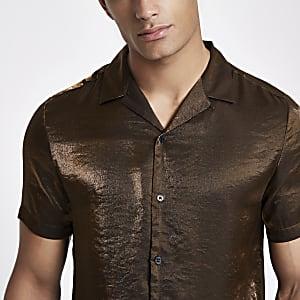 Brown metallic short sleeve revere shirt