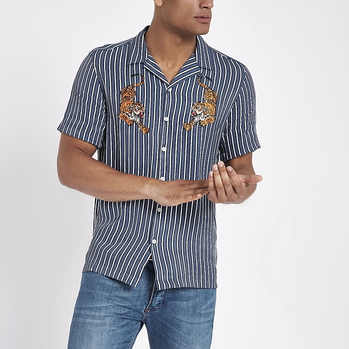 Blue stripe tiger embroidered shirt