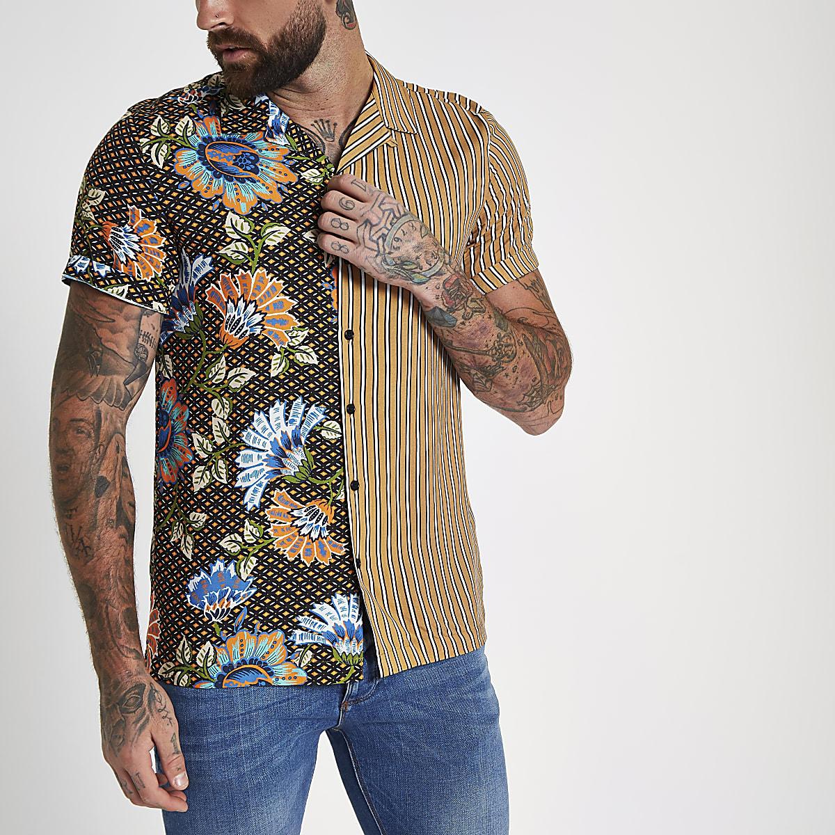 Yellow half and half print revere shirt