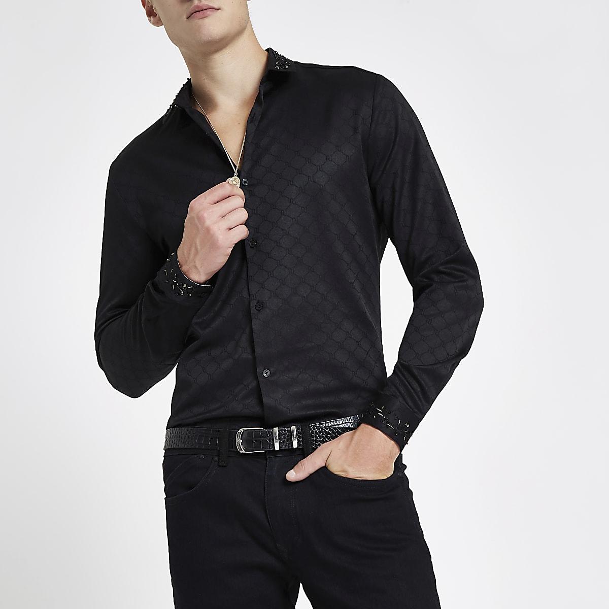 RI 30 black jacquard embellished collar shirt