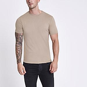 Braun meliertes T-Shirt mit Rundhalsausschnitt
