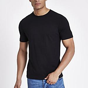 Zwart slim-fit T-shirt met ronde hals