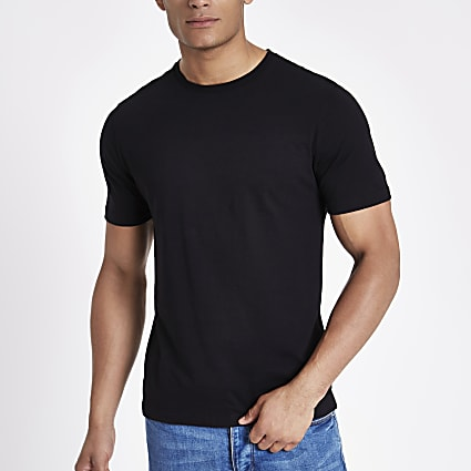 Black slim fit crew neck T-shirt