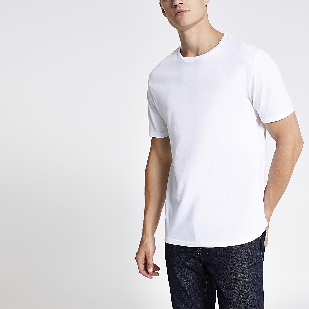 572fba9d1ed21d ... Rundhalsausschnitt Weißes Slim Fit T-Shirt mit Rundhalsausschnitt ...
