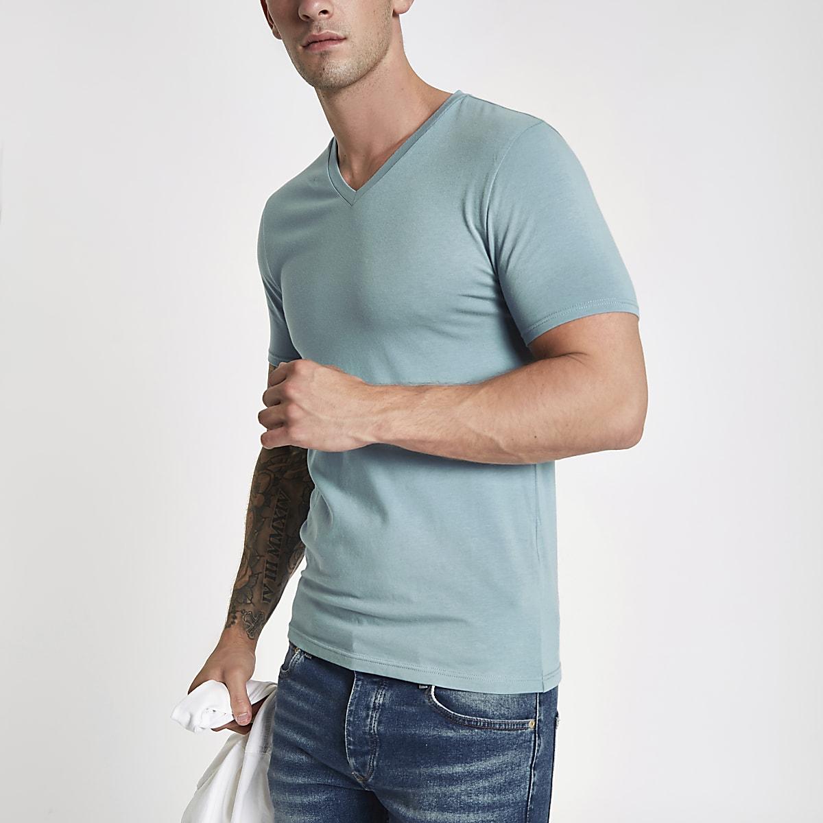 Blue muscle fit V neck T-shirt