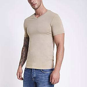 Hellbraunes Muscle Fit T-Shirt mit V-Ausschnitt