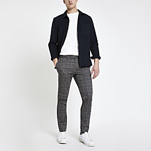 Dark grey check smart super skinny pants
