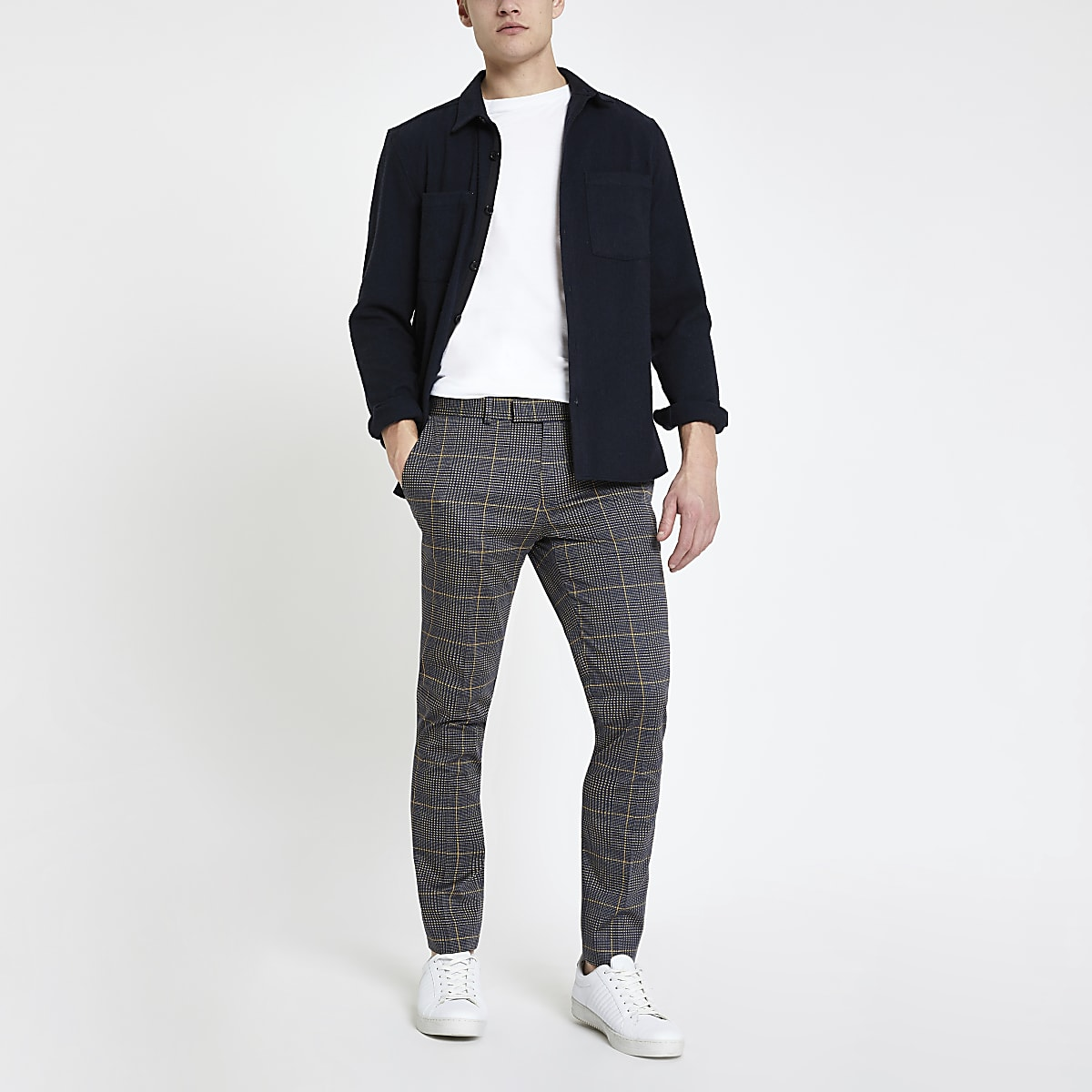 Dark grey check smart super skinny trousers