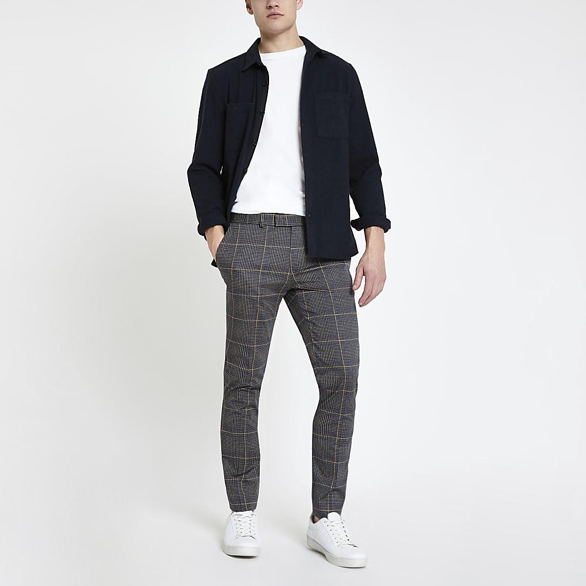 Dunkelgraue, elegante Super Skinny Hose mit Karos