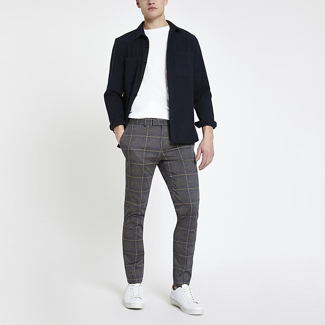 Pantalon super skinny habillé à carreaux gris foncé