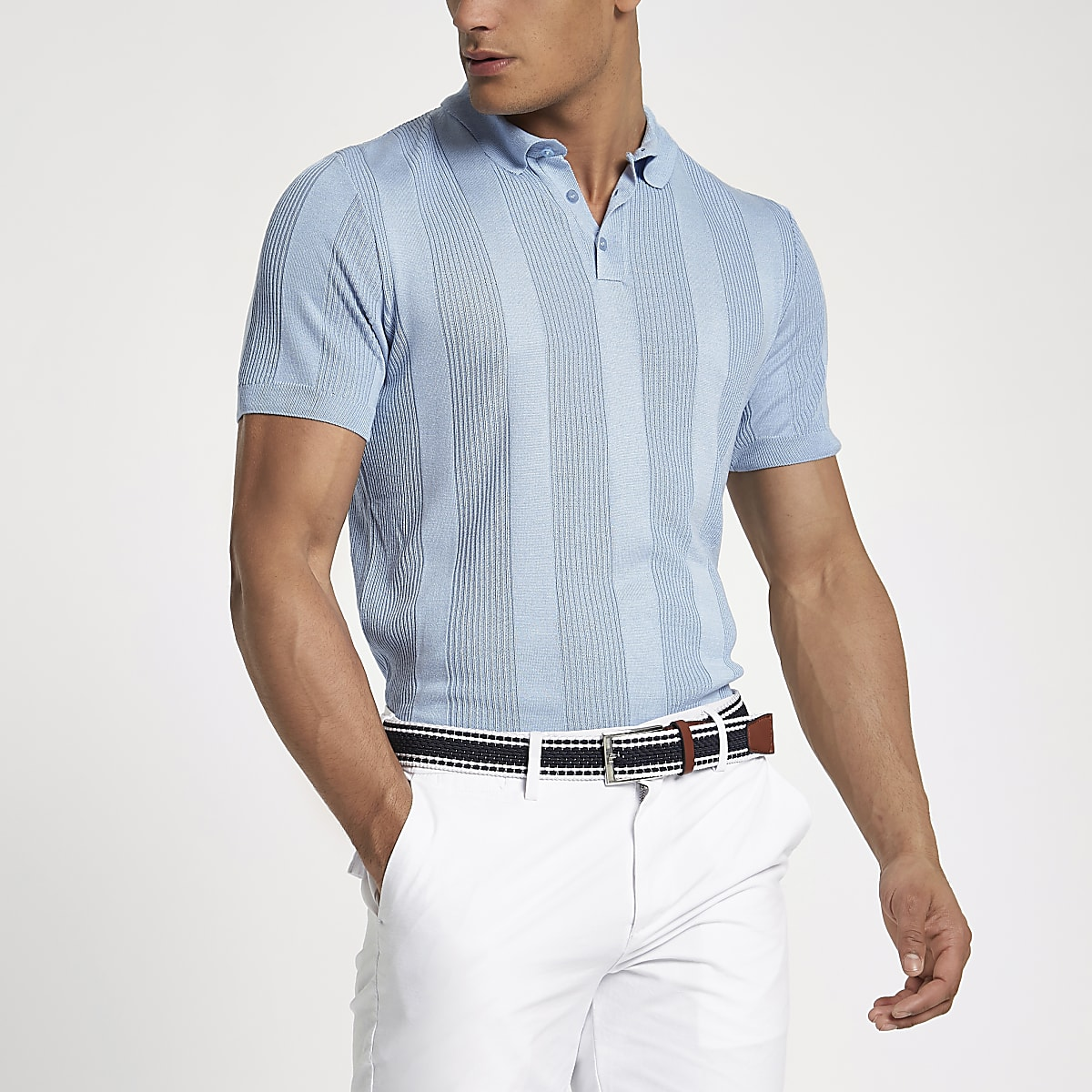 Blue rib knit muscle fit polo shirt