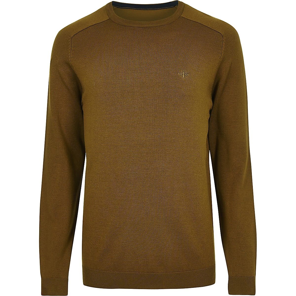 Mustard wasp embroidered slim fit jumper