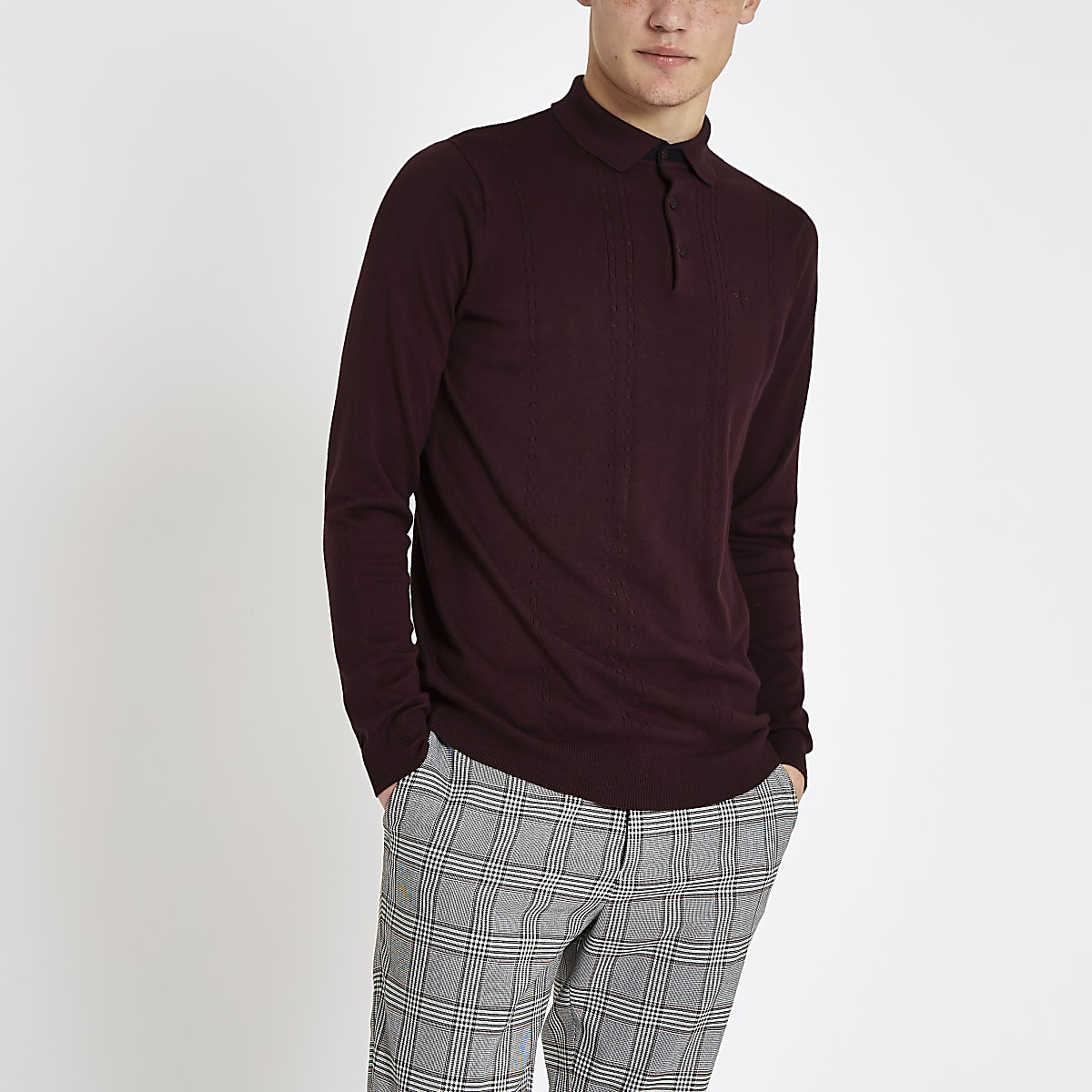 Burgundy slim fit cable polo shirt
