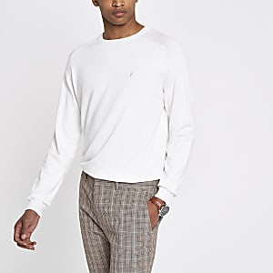 Ecru slim fit wasp embroidered jumper