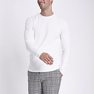 Ecru slim fit textured long sleeve top
