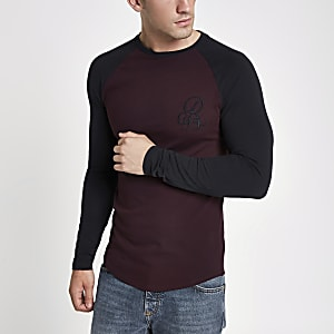 Dark red R95 muscle fit raglan T-shirt