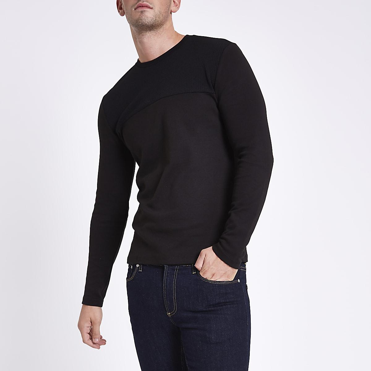 T-shirt slim texturé noir à manches longues